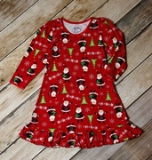 Sara�s Prints Girls Holiday Gown with Santa Print in Red