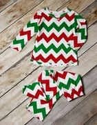 Sara�s Prints Girls Two-Piece Holiday Pajamas with Ruffle Edges - Chevron