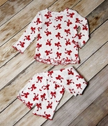 Sara�s Prints Girls Two-Piece Holiday Pajamas with Ruffle Edges - Dancing Bows