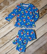 Sara�s Prints Girls Two-Piece Winter Pajamas with Ruffle Edges - Chilly Snowmen