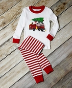 Sara's Prints Holiday Firetruck and Santa Long John Pajamas