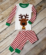 Sara's Prints Long John Holiday Reindeer Pajamas