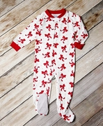 Sara's Prints One-Piece Holiday Footed Pajamas � Dancing Bows