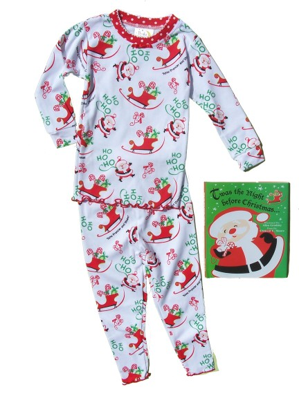 Size 8 Twas the Night Before Christmas ... Girls' Pajama Set w/ Book