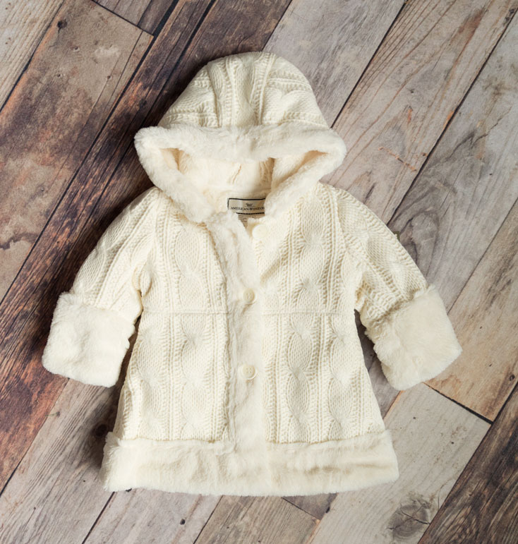 Widgeon Girls Cable Knit Sweater Coat – Ivory