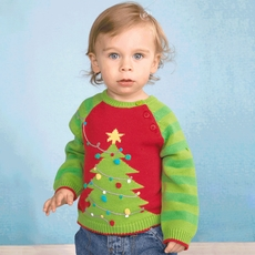 Zubels Christmas Tree 100% Knit Cotton Sweater for Boys