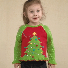 Zubels Christmas Tree Hand 100% Knit Cotton Sweater for Girls