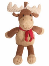 Hand Knit Cotton Floppy Moose Doll