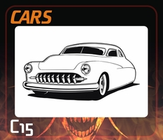 CAS Professional Airbrush Stencil - Hot Rod Cars Stencil C15