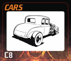 CAS Professional Airbrush Stencil - Hot Rod Cars Stencil C8