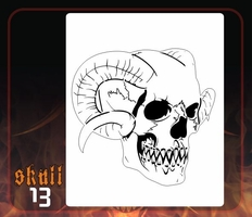 CAS Professional Airbrush Stencil - Skull 13 - 'Sawtooth with Horns'