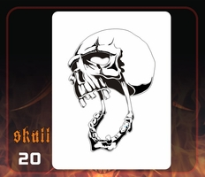 CAS Professional Airbrush Stencil - Skull 20 - 'Mouth Wide Open'