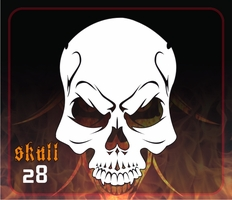 CAS Professional Airbrush Stencil - Skull 28 - 'Angry'