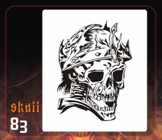 CAS Professional Airbrush Stencil - Skull 83 - 'Crowned'
