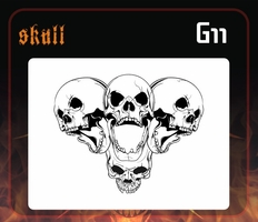 CAS Professional Airbrush Stencil - Skull Group 11 - 'Multi-Angle Screamers'