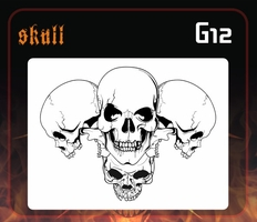 CAS Professional Airbrush Stencil - Skull Group 12 - 'Multi-Angle Grin 2'
