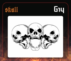 CAS Professional Airbrush Stencil - Skull Group 14 - 'Multi-Angle Screamers 2'
