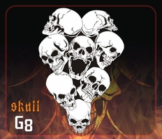 CAS Professional Airbrush Stencil - Skull Group 8-Mid - 'Extreme-Angle Skulls'