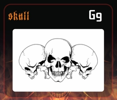 CAS Professional Airbrush Stencil - Skull Group 9 - 'Multi-Angle Grin'
