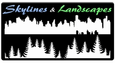 "CAS Professional Airbrush Stencils - <b><font color=""Blue""> Skylines and Landscapes</font>"