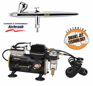 Harder Steenbeck Evolution CRplus Airbrush with Iwata Smart Jet Compressor and Hose