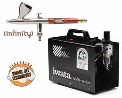 Infinity 2 in 1 Airbrush with Iwata Power Jet Lite Compressor & Hose