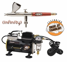 Infinity 2 in 1 Airbrush with Iwata Smart Jet Compressor & Hose