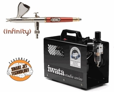 Infinity 2 in 1 Airbrush with Iwata Smart Jet Pro Compressor & Hose