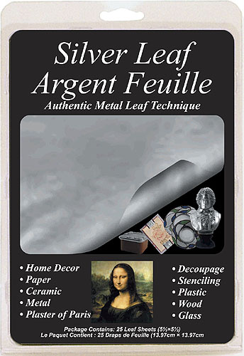 MONA LISA Silver Leaf Package Argent <br>Feulle 5½ ×5½ (25 Leaf Sheets)