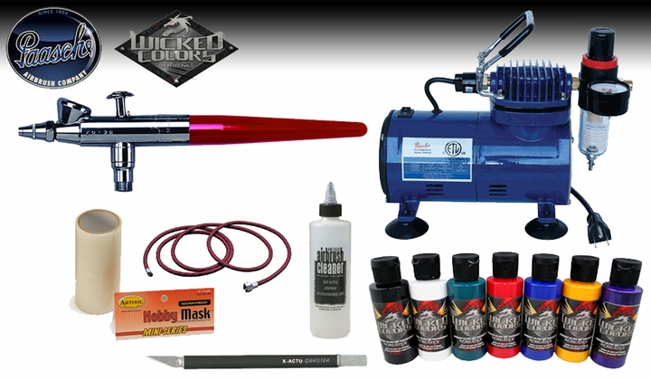 Paasche Vjr Airbrush Hobby Kit With D500sr Compressor W102