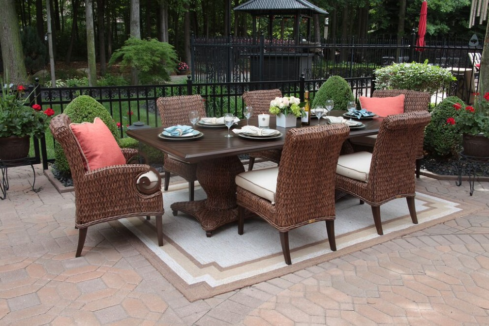 aerin collection all weather wicker patio furniture 6 person dining set