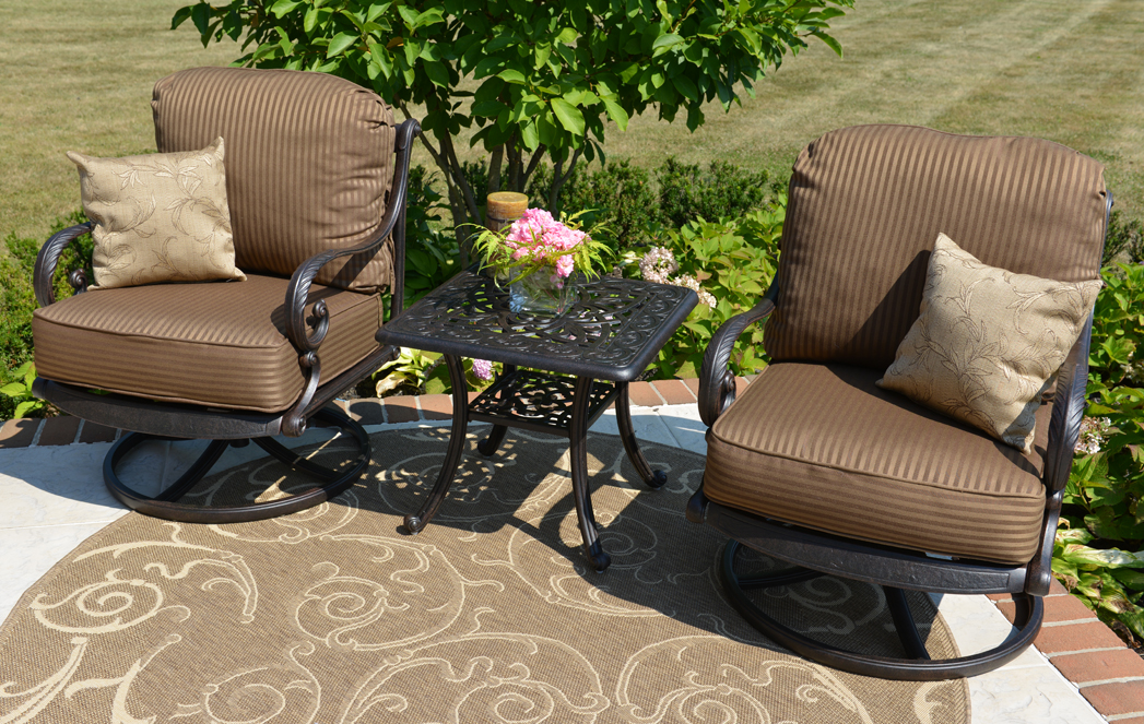 Amalia 2 Person Luxury Cast Aluminum Patio Furniture Chat Set W Swivel Chairs