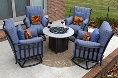 The Amia Collection 4-Person Cast Aluminum Patio Furniture Deep Seating Set w/Fire-Pit