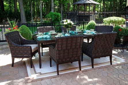 Cassini Collection All Weather Wicker 6-Person Patio Furniture Dining Set W/Stationary Chairs