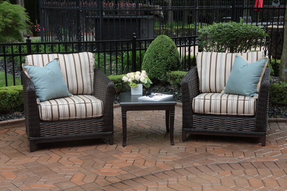 Cassini Collection All Weather Wicker Luxury Patio Furniture 2 Person Chat Set