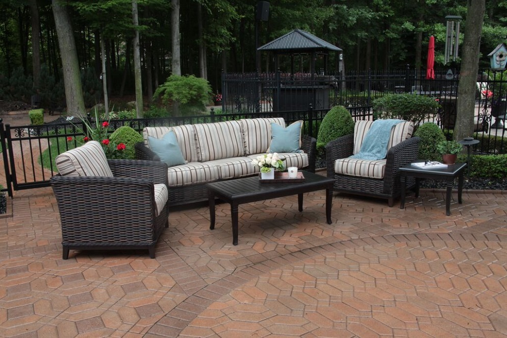 Cassini Collection All Weather Wicker Luxury Patio Furniture 5 Piece Deep Sea