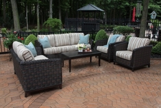 Cassini Collection All Weather Wicker Luxury Patio Furniture 6-Piece Deep Seating Set