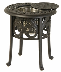 """Chateau By Hanamint Luxury Cast Aluminum Patio Furniture 20"""" Round Ice Bucket Side Table"""