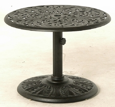 """Chateau By Hanamint Luxury Cast Aluminum Patio Furniture 30"""" Round Side Umbrella Side Table"""