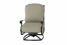 Florence By Gensun Luxury Cast Aluminum Patio Furniture High Back Swivel Club Chair
