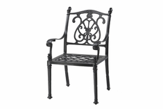 Florence By Gensun Luxury Cast Aluminum Patio Furniture Stationary Dining Chair