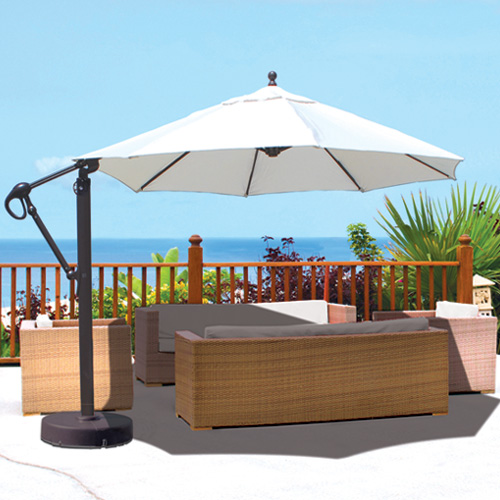 galtech aluminum 11 cantilever offset patio umbrella with sunbrella fabric canopy