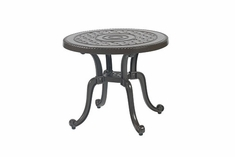 """Grand Terrace By Gensun Luxury Cast Aluminum Patio Furniture 26"""" Round End Table"""