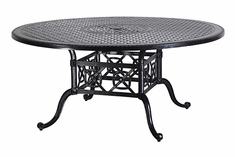 "Grand Terrace By Gensun Luxury Cast Aluminum Patio Furniture 66"" Round Dining Table"
