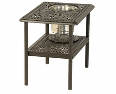 """Grand Tuscany By Hanamint Luxury Cast Aluminum 20"""" x 28"""" Patio Furniture Ice Bucket Side Table"""