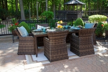 Gravati Collection 6-Person All Weather Wicker Luxury Patio Furniture Dining Set