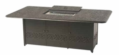 """Hanamint Chateau Outdoor 48"""" X 84"""" Rectangular Enclosed Gas Fire Pit Dining Height Table"""