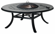 """Madrid II Cast Aluminum 54"""" Round Chat Height Outdoor Wood Burning Fire Pit"""