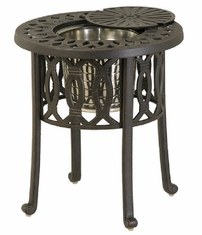 """Mayfair By Hanamint Luxury Cast Aluminum Patio Furniture 20"""" Round Ice Bucket Side Table"""