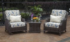 Mila Collection 2-Person All Weather Wicker Patio Furniture Chat Set W/Stat Chairs
